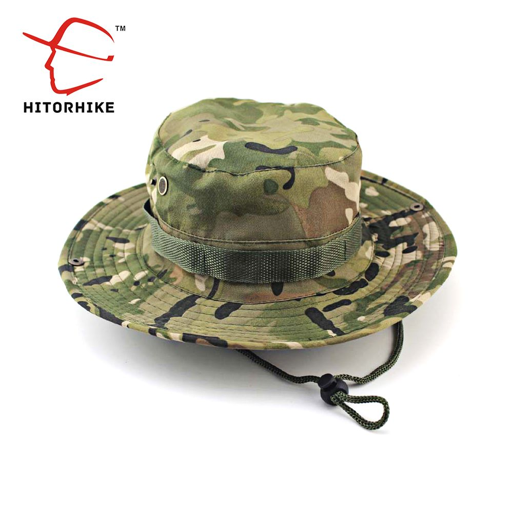 f823575ce57 HITORHIKE Men Military Camo Bucket Hat with String Camping Hiking Travel  Sniper Wide Brim Tactical Airsoft Camouflage Boonie Hat