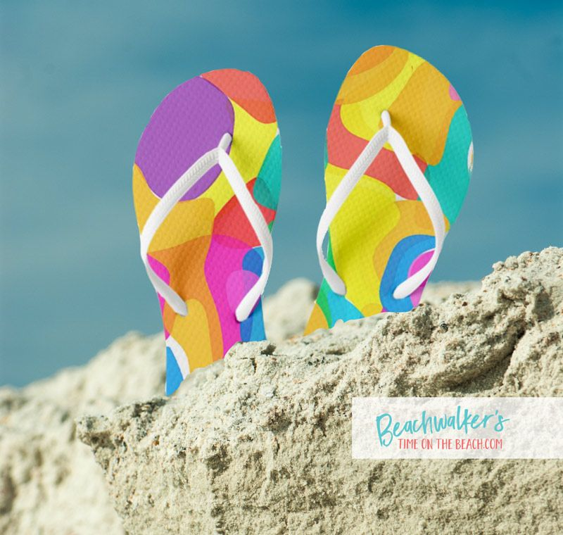 Blue and Multicolored Abstract Art Flip-Flops