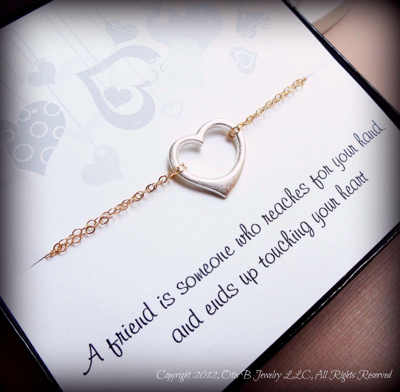 FRIENDSHIP BRACELET on message card, best friends bracelet, bridesmaid gifts, heart bracelet, valentines gift for sisters or friends
