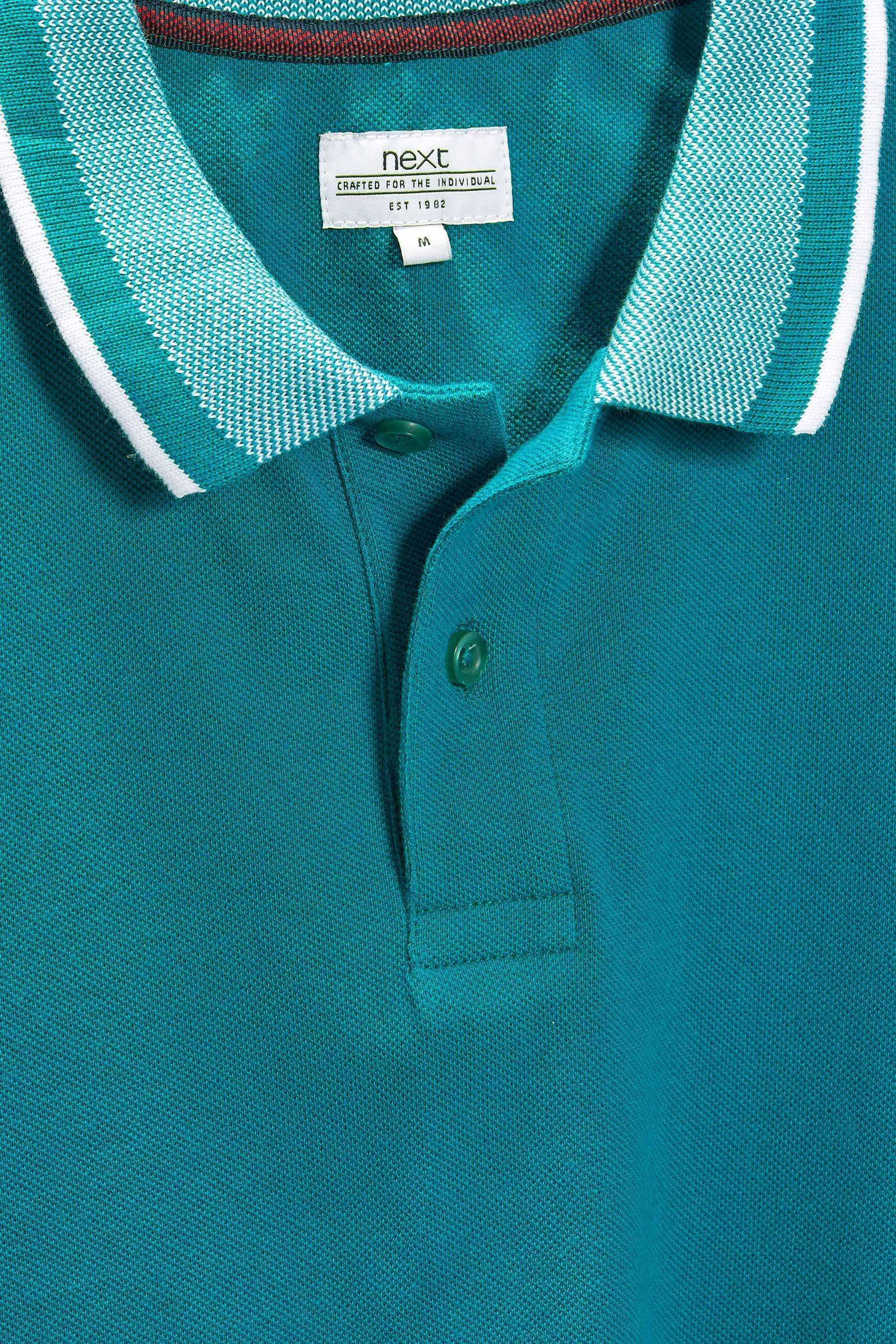 Buy Teal Jacquard Collar Polo from the Next UK online shop ... 4b94cb3bdf89
