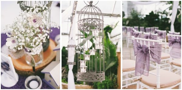 Jenn & James rustic purple décor. They love birds! blog   Sharalee Prang Photography