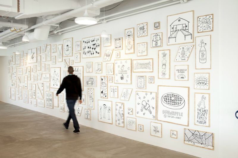 Drawings by the graphic designer Timothy Goodman line the walls of the Ate Ate Ate cafeteria (the name is a cheeky play on the address of the building, 888 Brannan Street). The company plans to exhibit work from a rotating cast of artists.