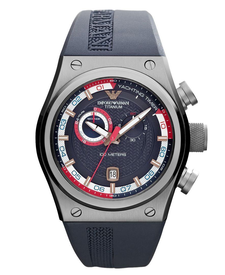 Emporio Armani Watch Men S Chronograph Blue Rubber Strap 48x44mm Ar6107 Armani Watches Mens Chronograph Emporio Armani