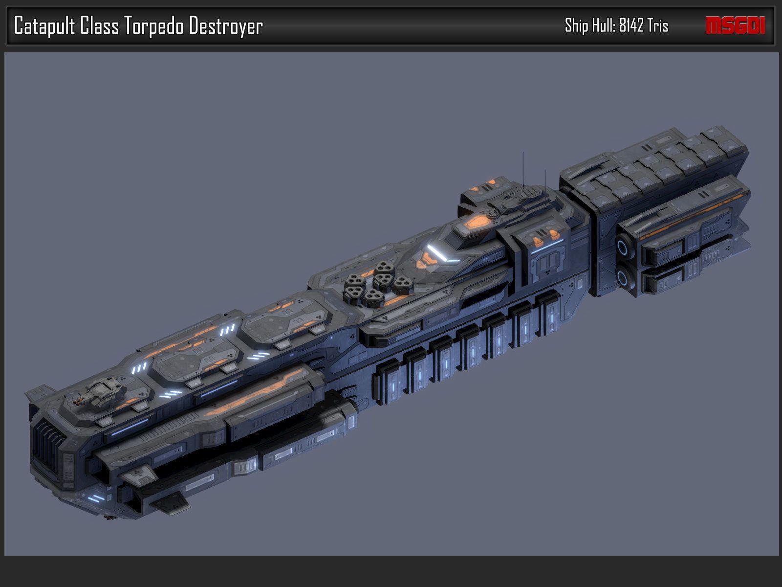 Scifi Torpedo Destroyer Catapult 3d Model Cgtrader Kosmicheskij