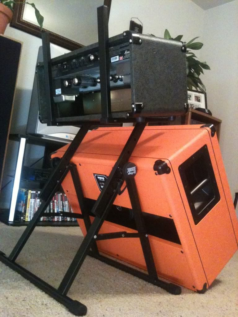 Any way to tilt back a 2x12 and head guitar amp stand