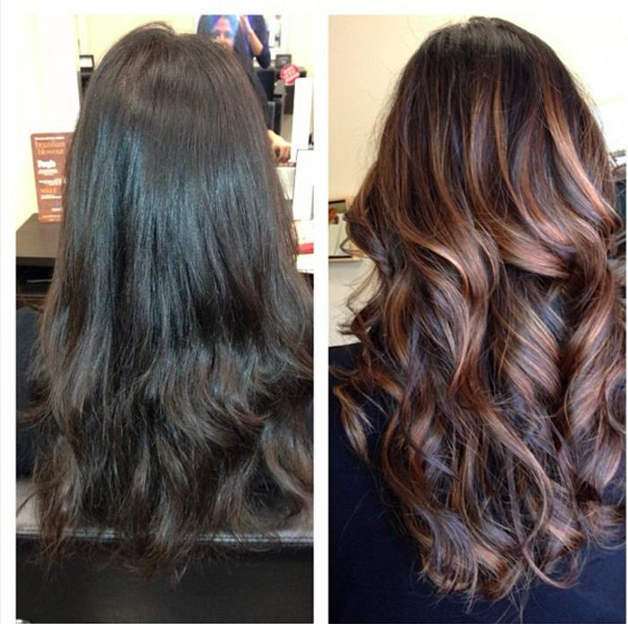 Avant et après , coiffure avec ballayage