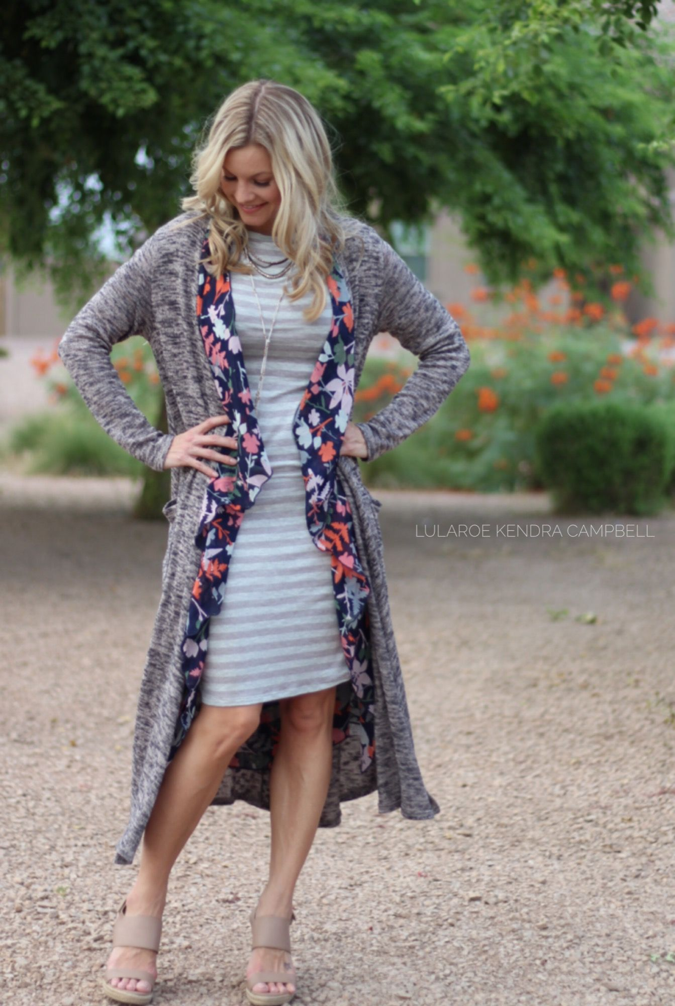 Fall transition outfit: LuLaRoe Julia dress, Shirley kimono, and ...
