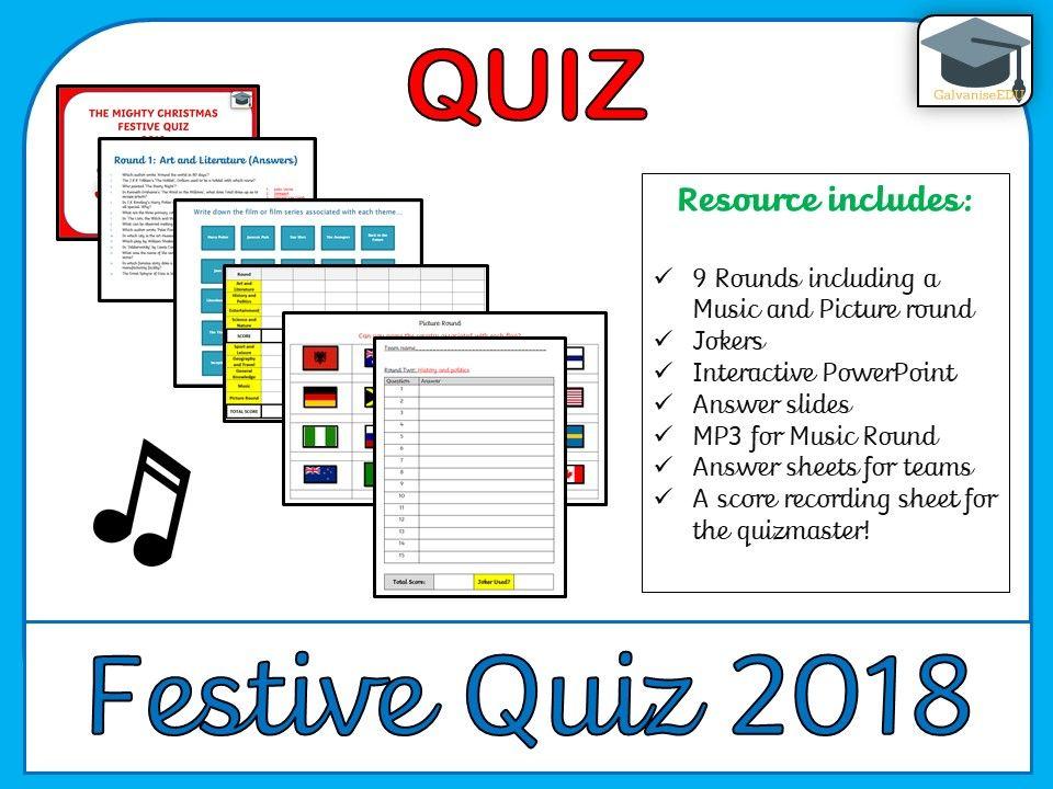 Festive / Christmas Quiz 2018 Christmas quiz, Teaching