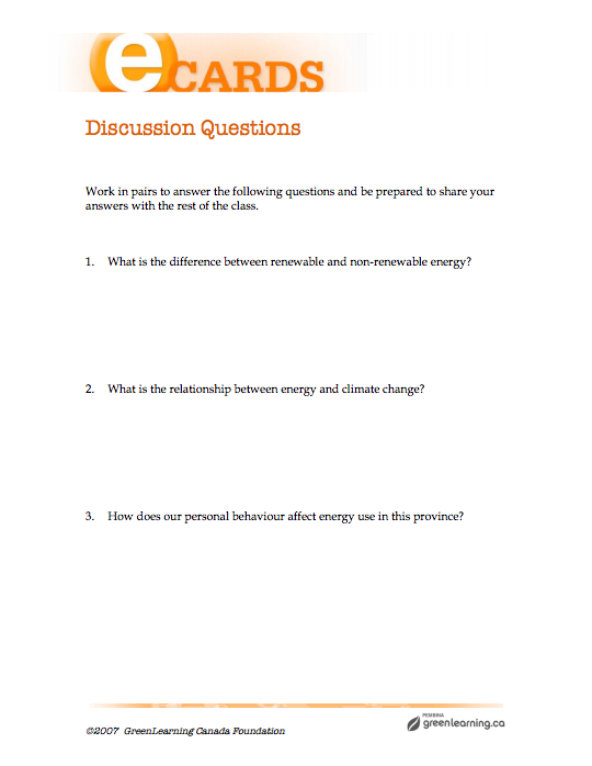 Discussion Questions - Printable lesson plan  Meets Canadian