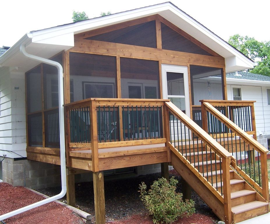 screened porch with additional outside deck and stairs on steps in discovering the right covered deck ideas id=79662