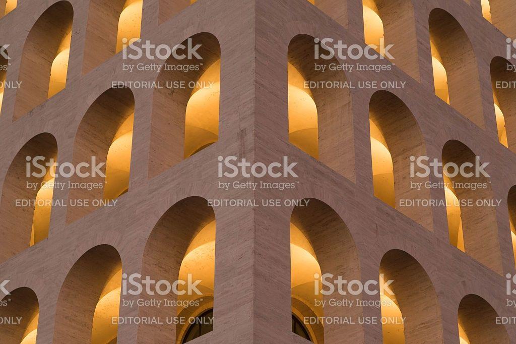 Palazzo della civiltà italiana EUR, Rome windows close up royalty-free stock photo