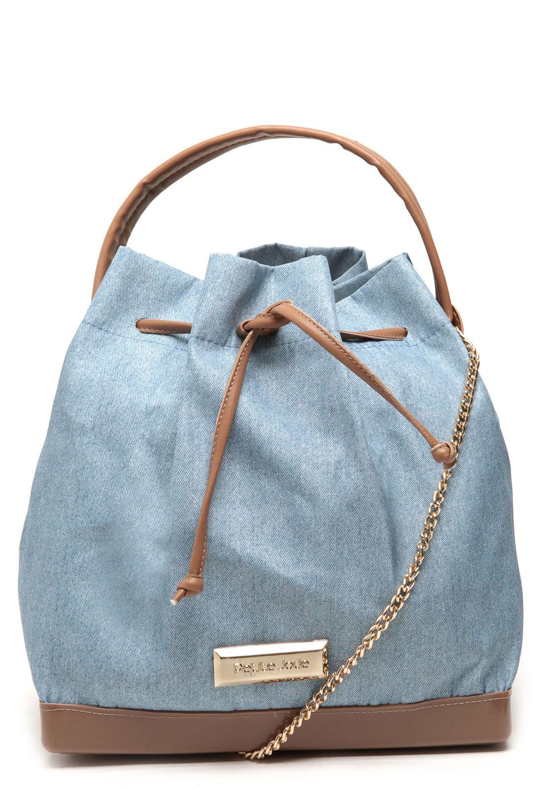 57856bd6d bolsa saco petite jolie correntes azul | Jeans. | Bolsos, Carteras e ...