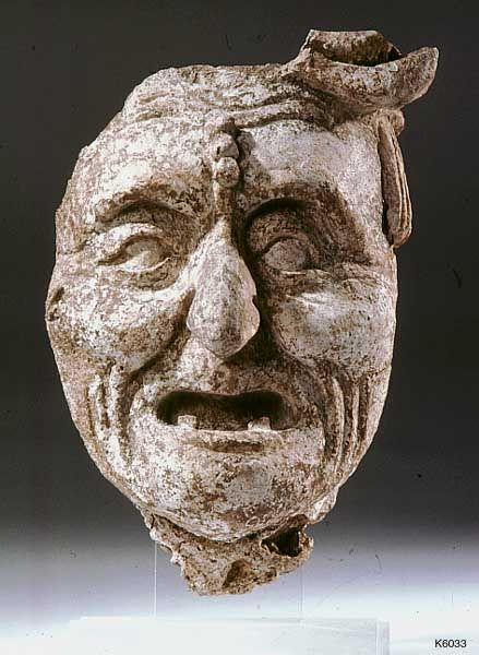 Maya Stucco Portrait of an old man or Old God (Pauahtun). approximate height 25 cm