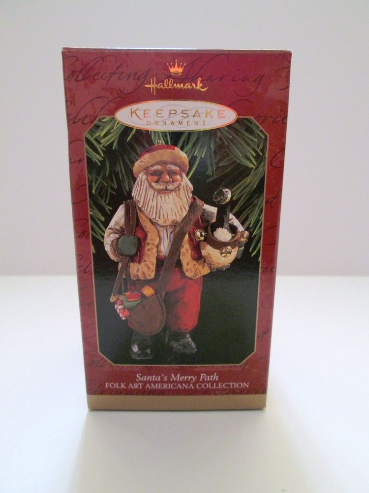 Hallmark Christmas Ornament Santa's Merry Path Folk Art Americana Collection  #Hallmark - Hallmark Christmas Ornament Santa's Merry Path Folk Art Americana