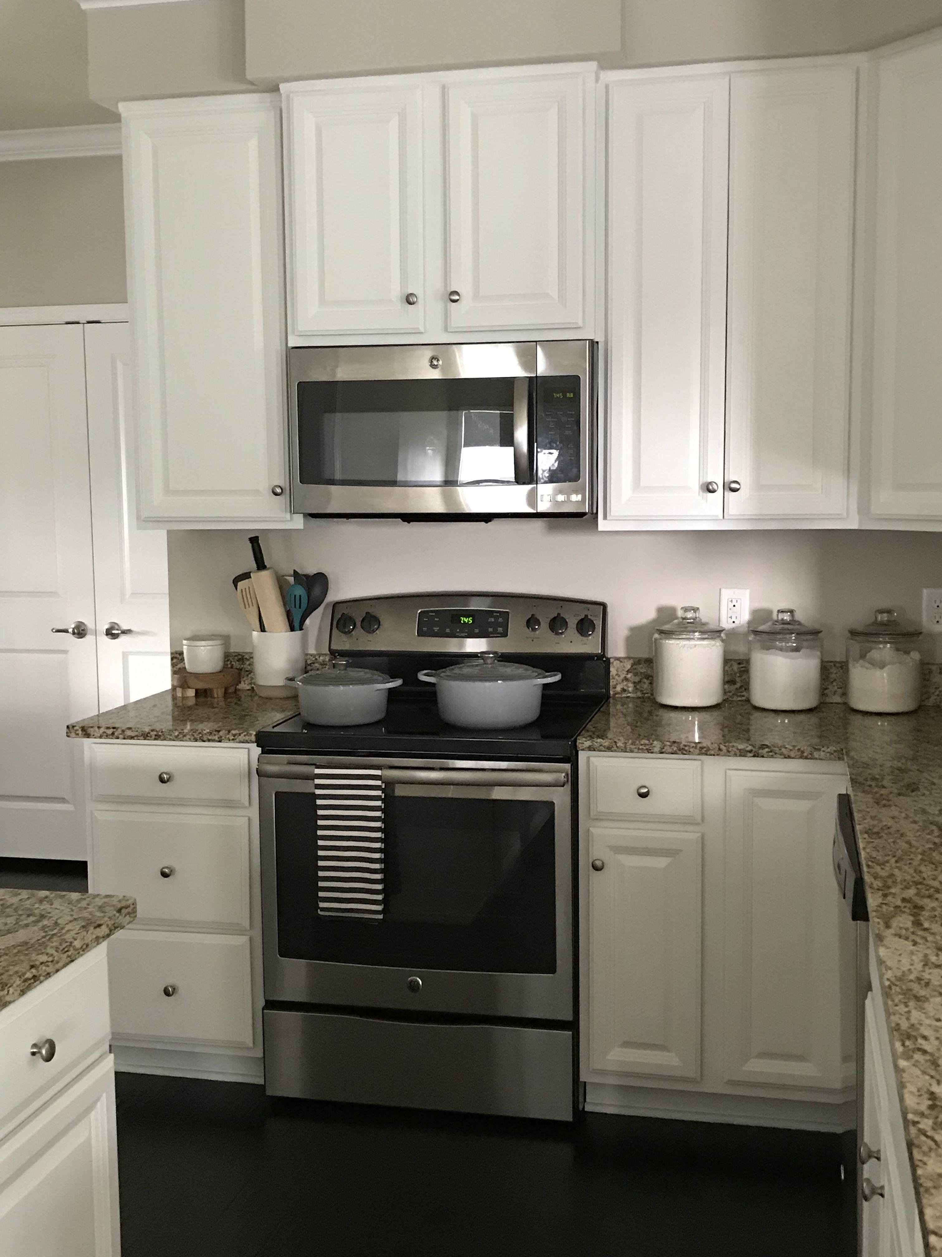 White kitchen cabinets Valspar Swiss coffee | Painting ...