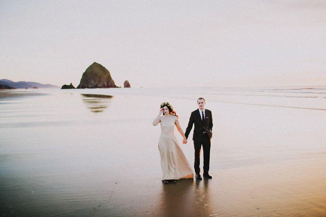 Haystack Rock Cannon Beach Wedding Photo
