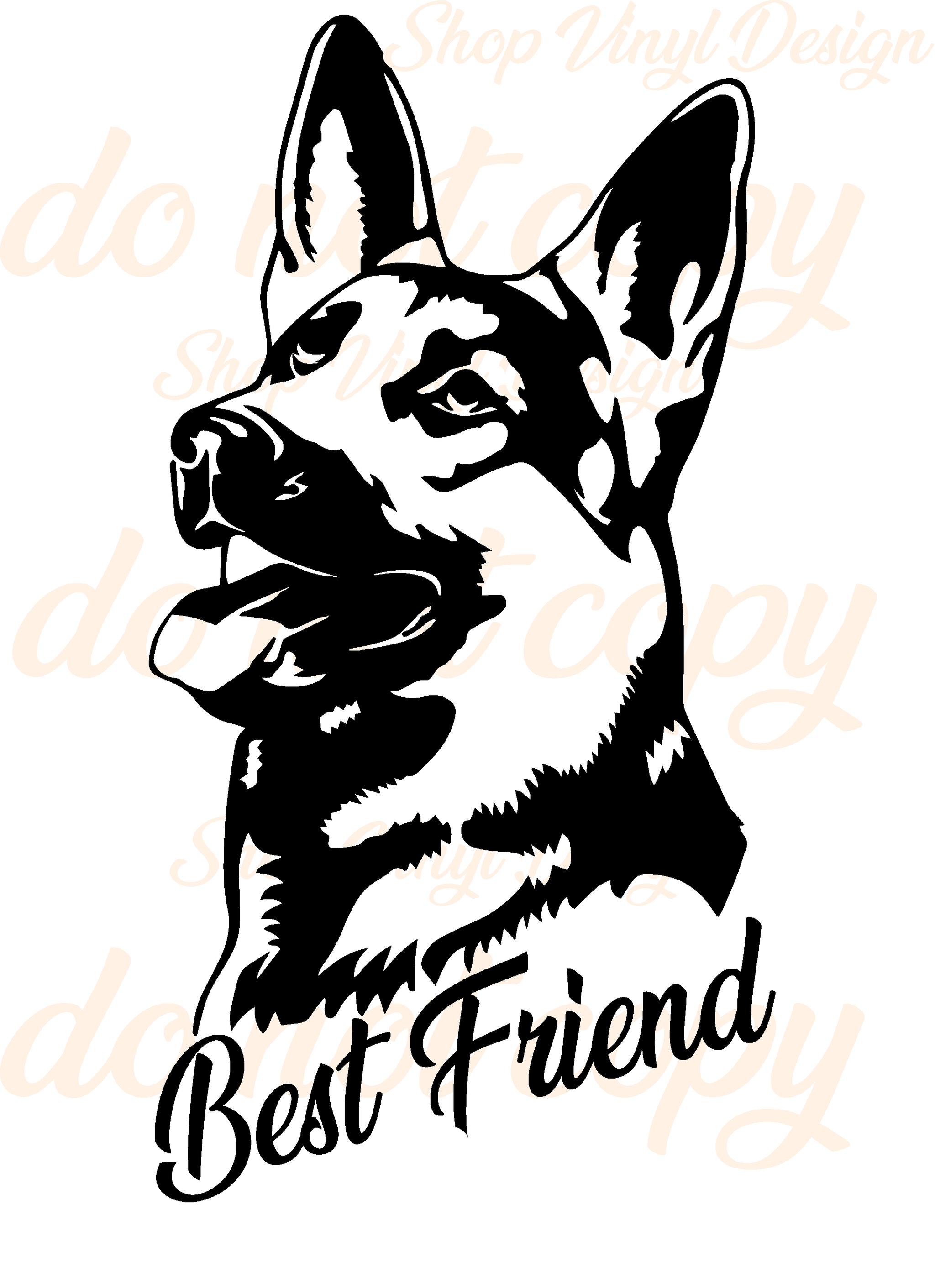 Best Friend German Shepard Vinyl Graphic Decal Vinyl Graphic Decal