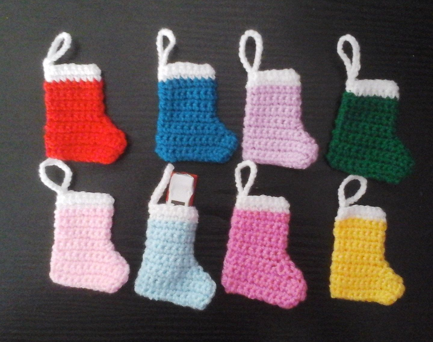 Set of 6 Mini Christmas stockings by BsBitsandBobs on Etsy
