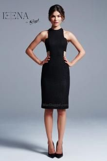 Sleeveless, knee length, black, cut out dress.  IEENA For Mac Duggal Style 25043i.
