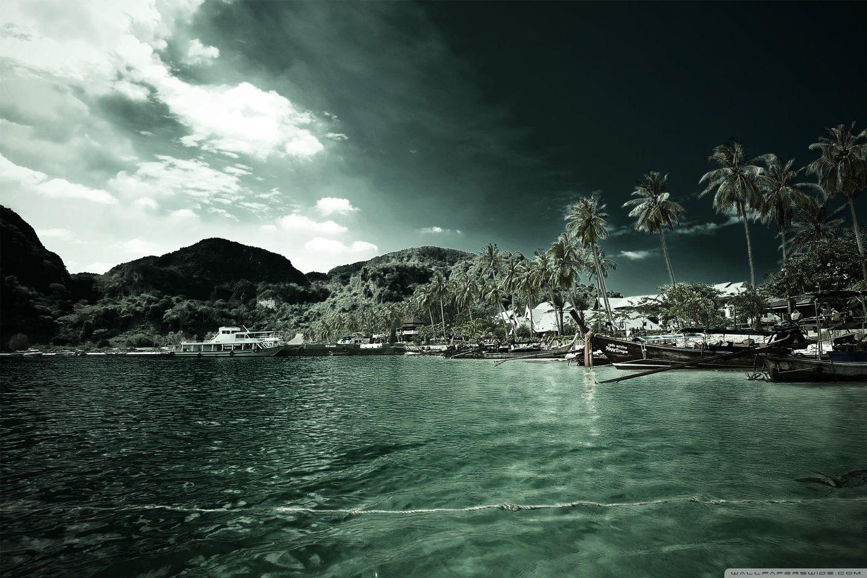 Tropical Beach Resort Hd Desktop Wallpaper High Definition Landscape Wallpaper Hd Landscape Desktop Background Nature