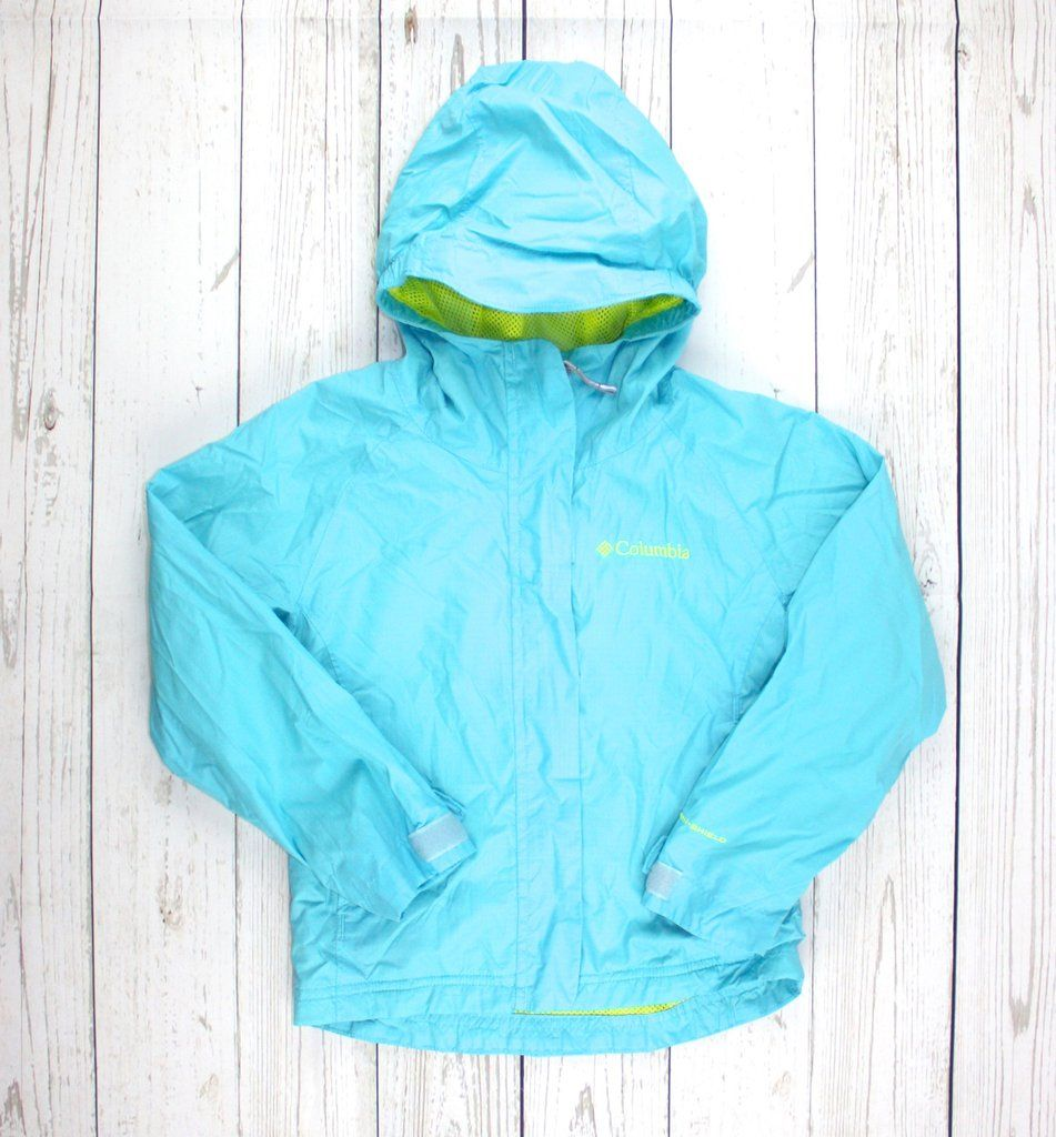 Columbia rain jacket, rain jacket for girls, turquoise jacket, raincoat for girls