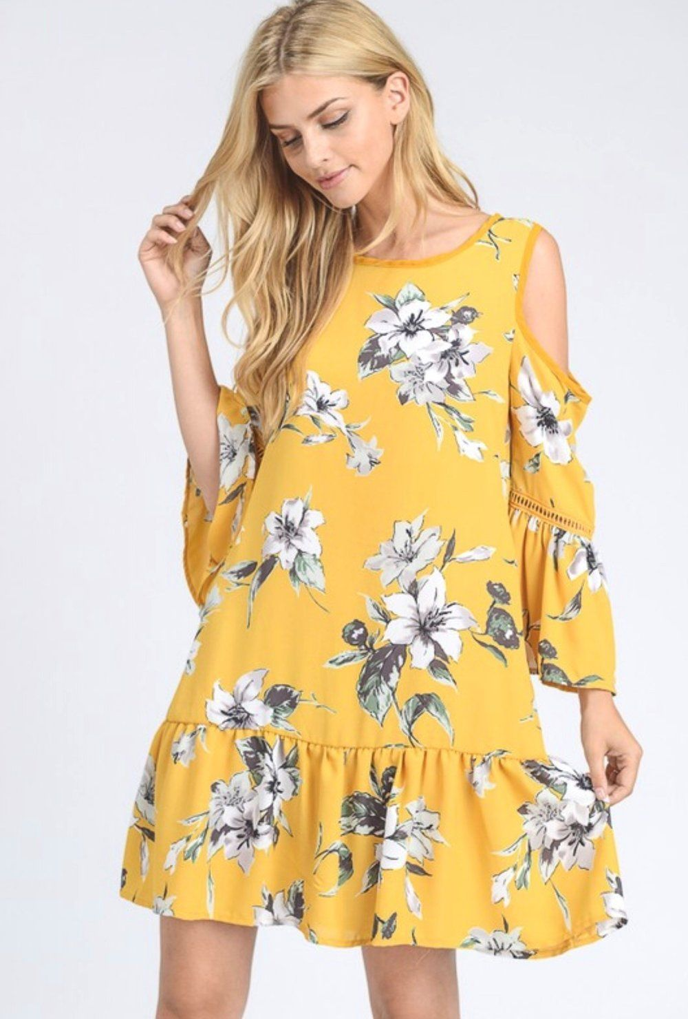 0b8b895bd2 Lauren Floral Dress Woven floral print cold shoulder dress with ruffle hem  and lace on sleeve