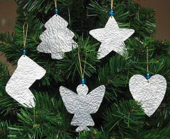 Silver christmas ornaments metal christmas tree decor