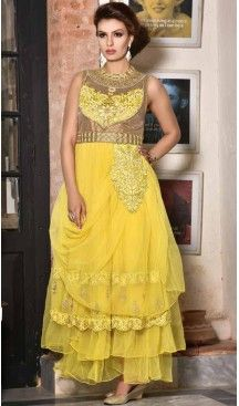 d7c9ea9ab7d6 Tranquil Yellow Net Party Wear Gown #gowns , #designer , #womens , #wedding  , #evening , #party , @heenastyle , #readymade , #online , #mode