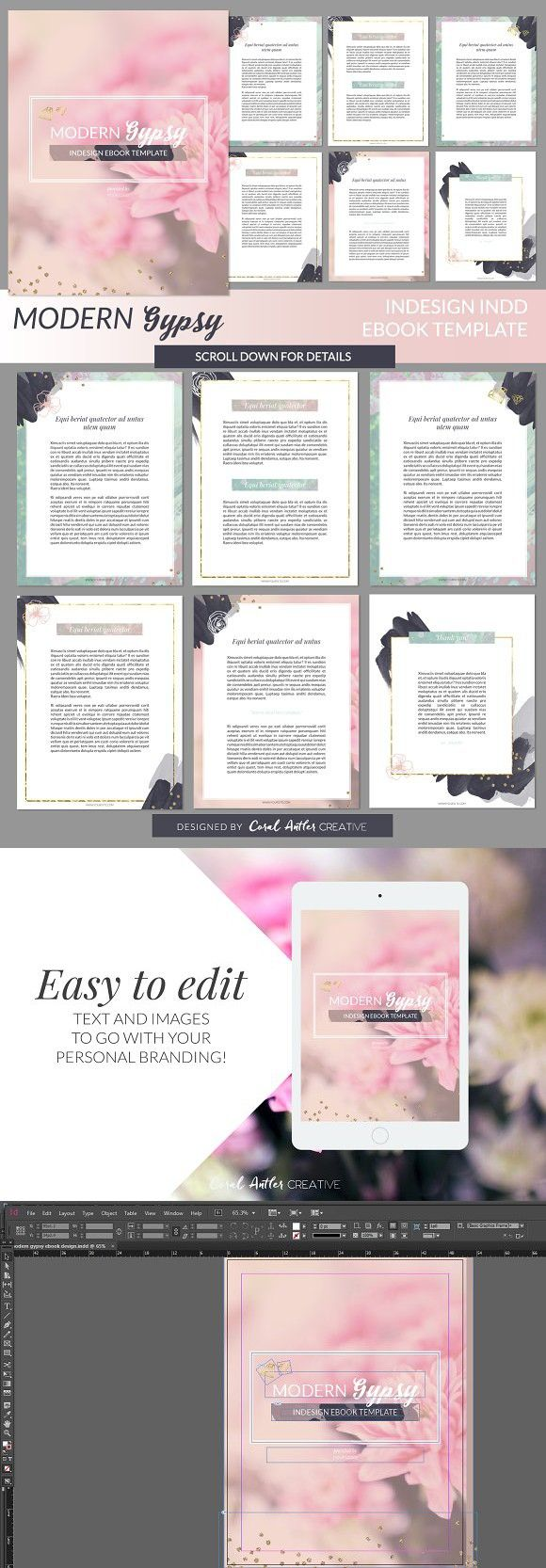 Modern Gypsy InDesign Ebook Template   Template