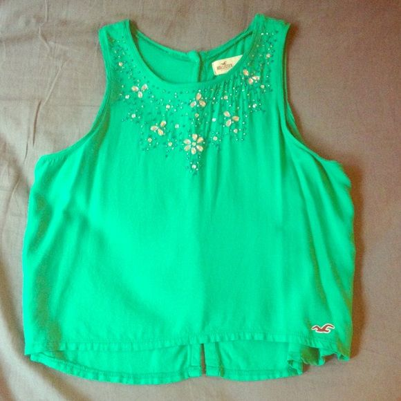 Teal beaded Hollister tank EUC. Size small.  Hollister Tops Tank Tops