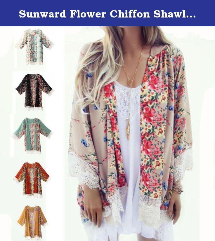d45ef452ef88f Sunward Flower Chiffon Shawl Kimono Cardigan Coats Jackets Cover up Blouse  Tops. Description  100% brand new and high quality. Gender  Women