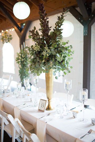 Natural Greenery In Tall Centerpieces Tall Gold Metal Vases King Table Design With Wedding Vase Centerpieces Wedding Centerpieces Wedding Table Centerpieces