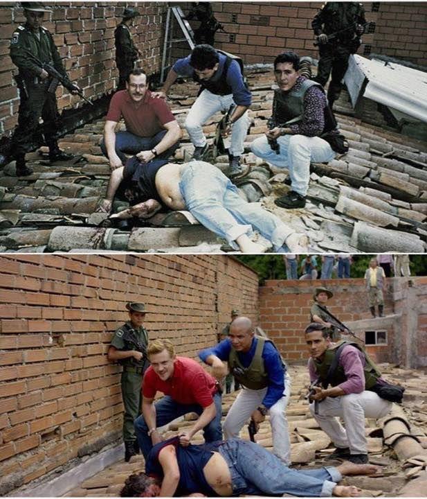Fotogramas paralelos entre la foto real de la muerte de Pablo Escobar y la de la serie.  #acción #cine #fotogramas