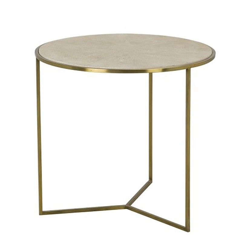 Transitional Round Side Table Featuring A Linen Colored Faux