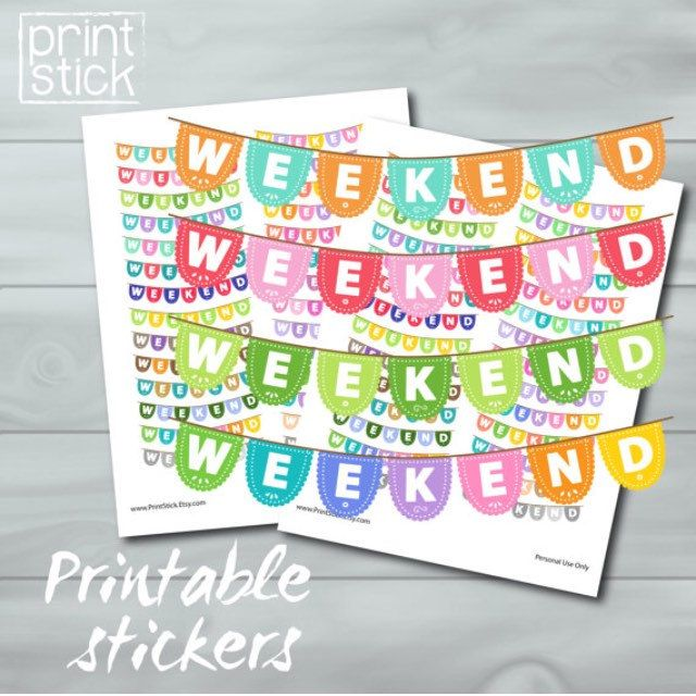 Papel Picado Color Coordinated Weekend Banner Planner Stickers