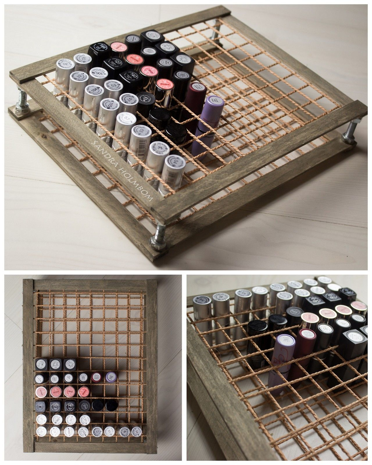 Diy Wood And Rope Lipstick Storage Tutorial From Sandra Holmbom