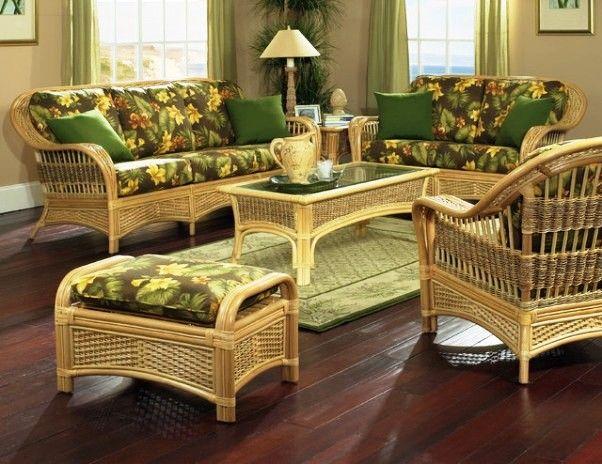 Indoor Sunroom Furniture Rattan, Tropical Wicker Furniture