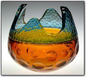 Amber Cut Rhapsody Bowl