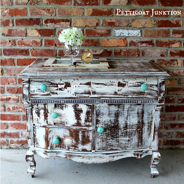 Distressed Shabby White Dresser With Turquoise Knobs