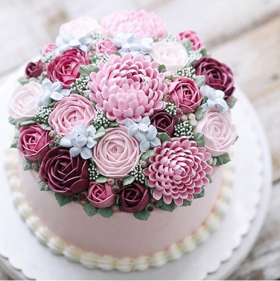 Novidades Flower Cake Flores Buttercream Bolo