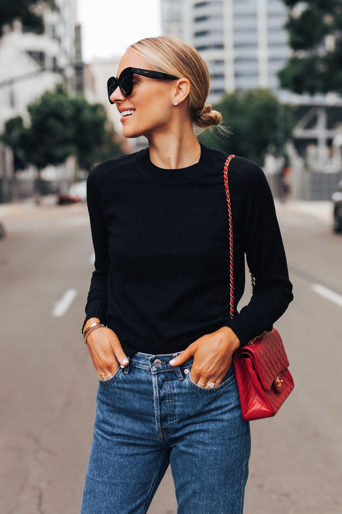 Photo of Fashion Jackson Wearing Everlane Black Cashmere Sweater Everlane Relaxed Jeans C…