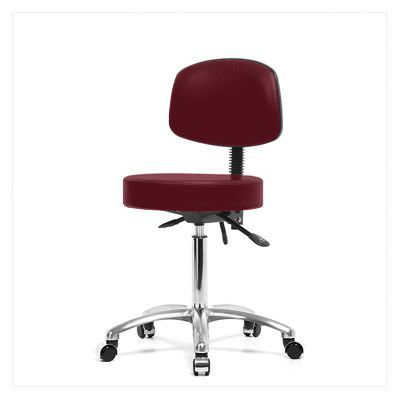 """Perch Chairs & Stools Height Adjustable Doctor Stool Size: 37.5"""" H x 24"""" W x 24"""" D, Color: Burgundy Vinyl"""