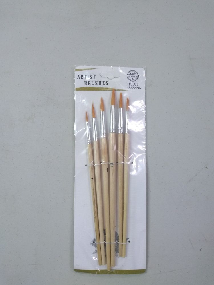 6 piece fine tip round point watercolor paint brushes