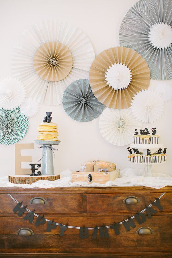 Black White Gold And Cream Birthday Party Ideas Emmalines First Teddy Bear Style