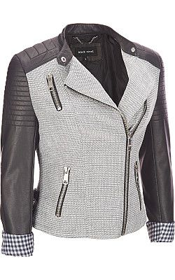 3de785b483b Black Rivet Stand Collar Tweed   Faux-Leather Moto Jacket -  WilsonsLeather