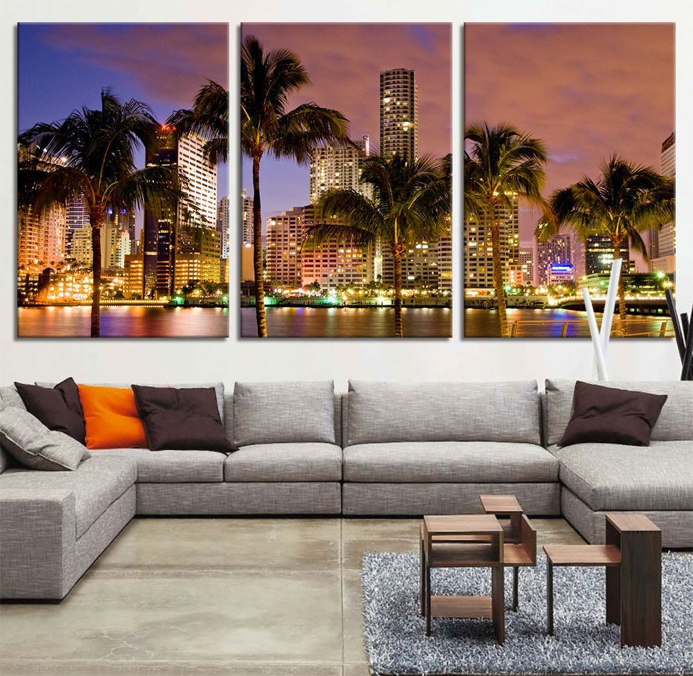 Large Framed Wall Art New York City Landscape Sunset: Miami Beach Skyline Night