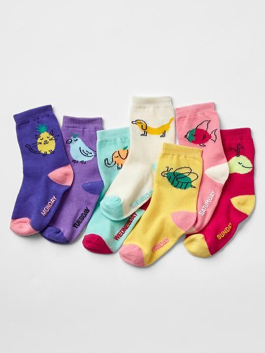 Days Of The Week Socks Animal Days Of The Week Socks 7 Pack Gap Roupas Enxoval