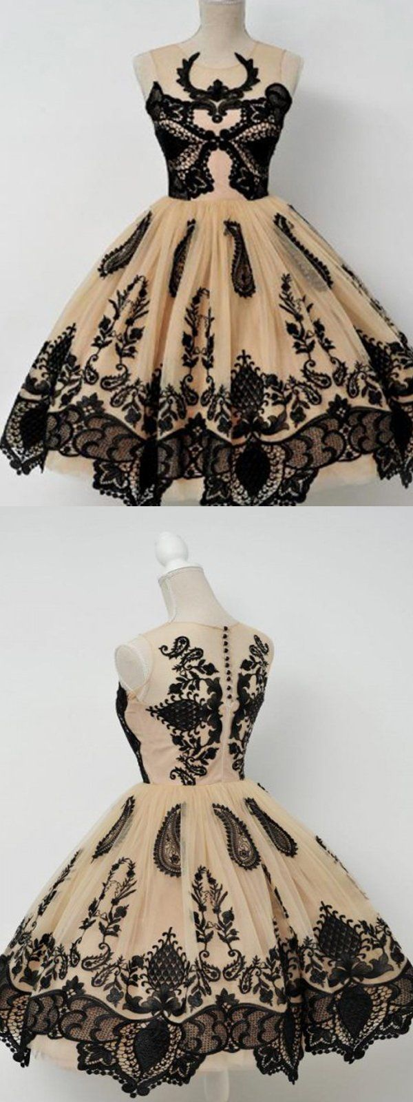 Noble champagne tulle homecoming dressblack appliques graduation