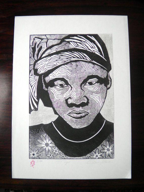 Togo, Woodcut Print, Woodblock Print, Black and White Art, Relief Printmaking, Ben Prints, Printsy