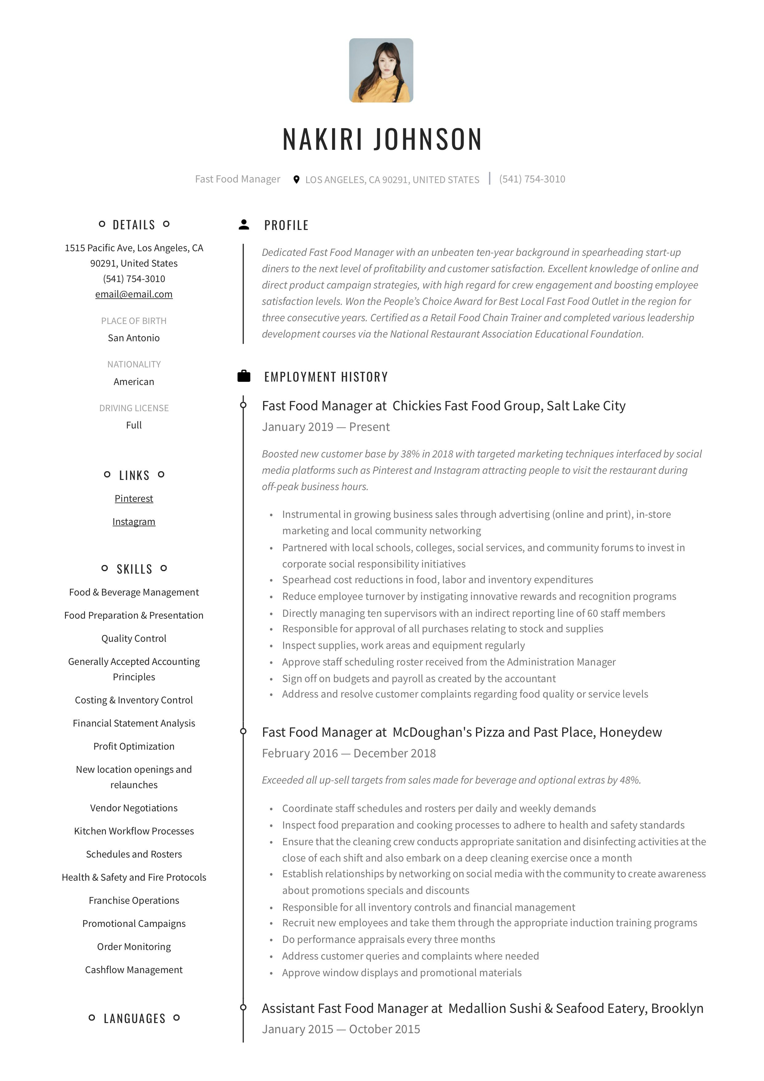 Fast food manager resume writing guide in 2020